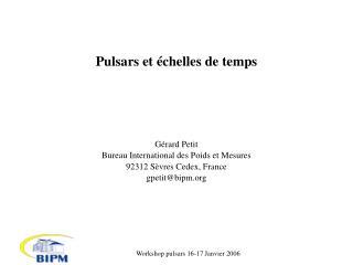 Pulsars et échelles de temps