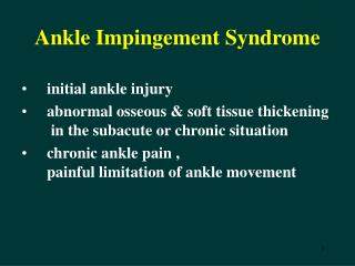 Ankle Impingement Syndrome