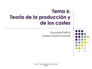 Tema 6:  Teor�a de la producci�n y de los costes