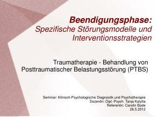 Beendigungsphase: Spezifische Störungsmodelle und Interventionsstrategien