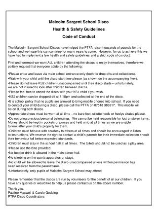 Malcolm Sargent School Disco  Health & Safety Guidelines Code of Conduct