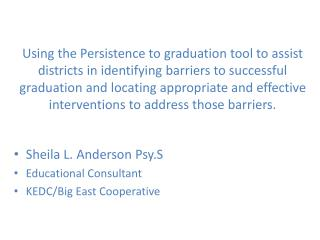 Sheila L. Anderson Psy.S Educational Consultant KEDC/Big East Cooperative