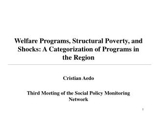 Welfare Programs, Structural Poverty, and Shocks: A Categorization of Programs in the Region