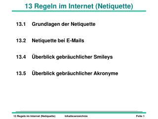 13 Regeln im Internet (Netiquette)