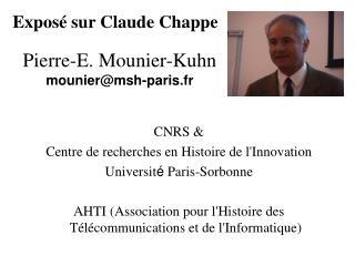 CNRS &  Centre de recherches en Histoire de l'Innovation U niversit �  Paris-Sorbonne