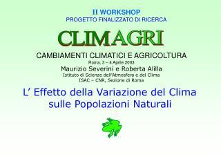 II WORKSHOP PROGETTO FINALIZZATO DI RICERCA