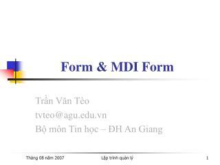 Form & MDI Form