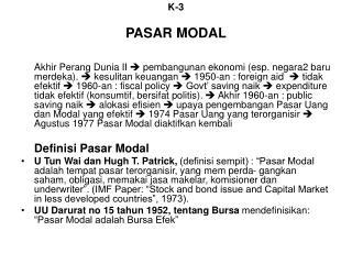 K-3 PASAR MODAL
