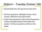 Midterm   Tuesday October 18th