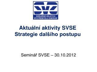 Aktuální aktivity SVSE Strategie dalšího postupu