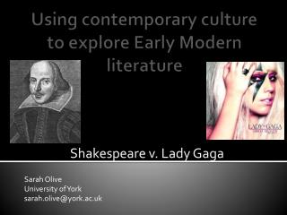 Using contemporary culture to explore Early Modern literature