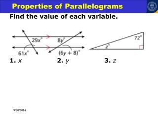 Find the value of each variable. 1. x 2. y			 3. z