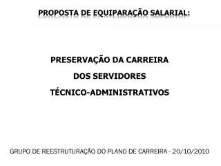 PROPOSTA DE EQUIPARAÇÃO SALARIAL: