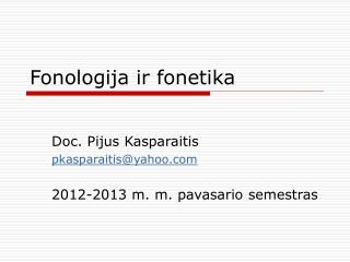 Fonologija ir fonetika
