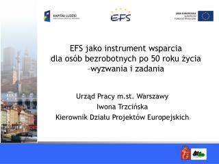 EFS jako instrument wsparcia  dla osób bezrobotnych po 50 roku życia  –wyzwania i zadania