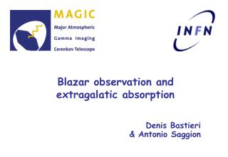 Blazar observation and extragalatic absorption