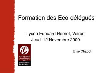 Formation des Eco-délégués