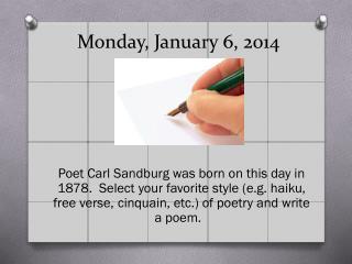 Monday,  January 6, 2014