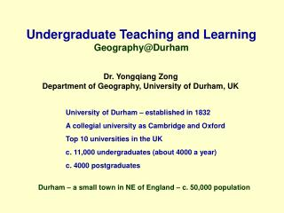 Undergraduate Teaching and Learning Geography@Durham
