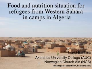 Food and nutrition situation for refugees from Western Sahara  in camps in Algeria