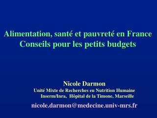 Alimentation, santé et pauvreté en France Conseils pour les petits budgets