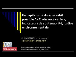 �loi LAURENT  (OFCE/Sciences-po) eloi.laurent@sciences-po.fr