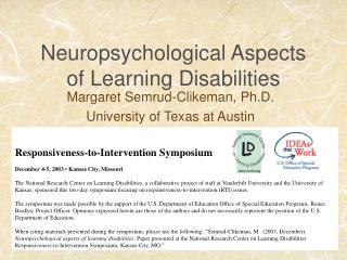 Neuropsychological Aspects of Learning Disabilities