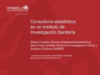 Consultoría estadística en un Instituto de Investigación Sanitaria