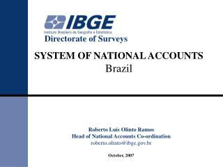 SYSTEM OF NATIONAL ACCOUNTS Brazil