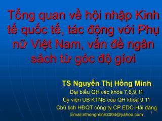 TS Nguyễn Thị Hồng Minh Đại biểu QH các khóa 7,8,9,11 Ủy viên UB KTNS của QH khóa 9,11