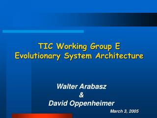 TIC Working Group E Evolutionary System Architecture