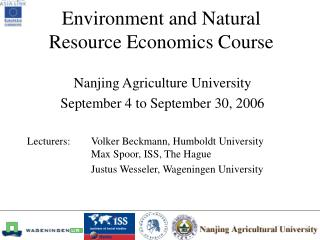 Environment and Natural Resource Economics Course