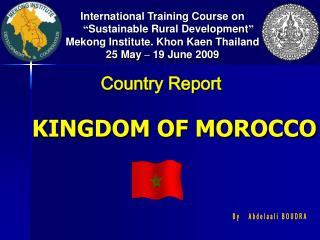 "International Training Course on  "" Sustainable Rural Development """