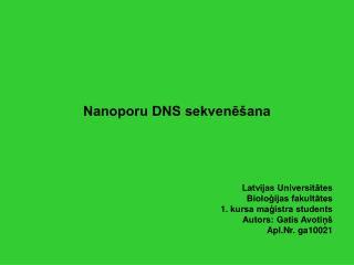 Nanoporu DNS sekvenēšana
