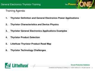 General Electronics Thyristor Training