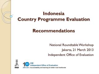 Indonesia  Country Programme Evaluation Recommendations