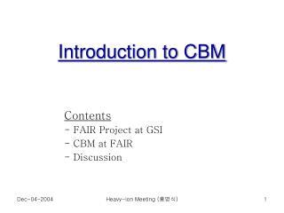 Introduction to CBM