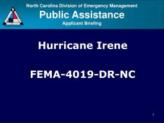 Hurricane Irene FEMA-4019-DR-NC