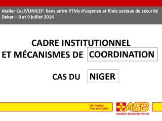CADRE INSTITUTIONNEL ET MÉCANISMES DE  CAS DU
