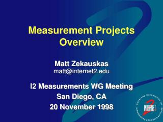 Measurement Projects Overview