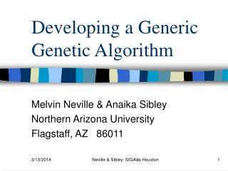 Developing a Generic Genetic Algorithm