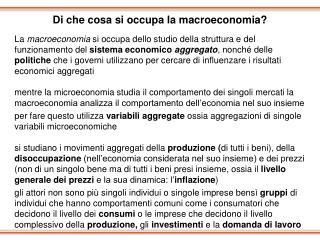Di che cosa si occupa la macroeconomia?