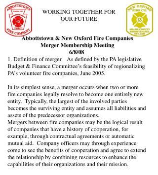 Abbottstown  New Oxford Fire Companies Merger Membership Meeting 6
