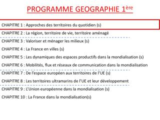 PROGRAMME GEOGRAPHIE 1 �re