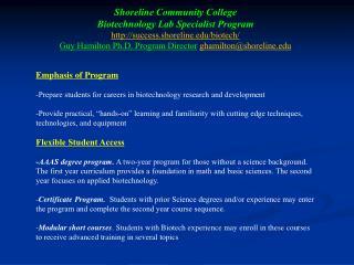 Shoreline Community College  Biotechnology Lab Specialist Program