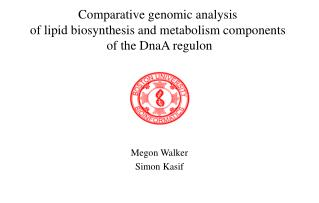 Comparative genomic analysis  of lipid biosynthesis and metabolism components  of the DnaA regulon