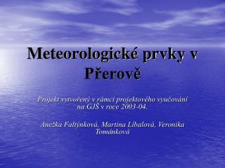Meteorologické prvky v Přerově