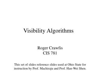 Visibility Algorithms