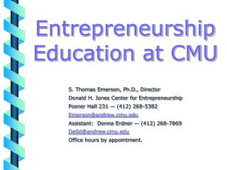 Entrepreneurship Education at CMU