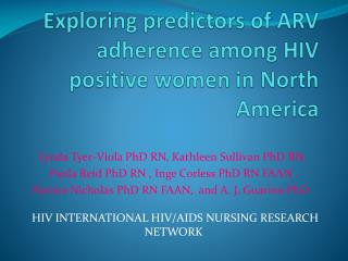 Exploring predictors of ARV adherence among HIV positive women in North America